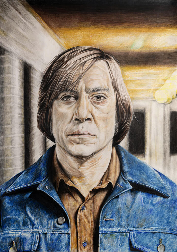 Anton Chigurh (No Country for Old Men) – Mixed Media on Paper 60 x 42 cm