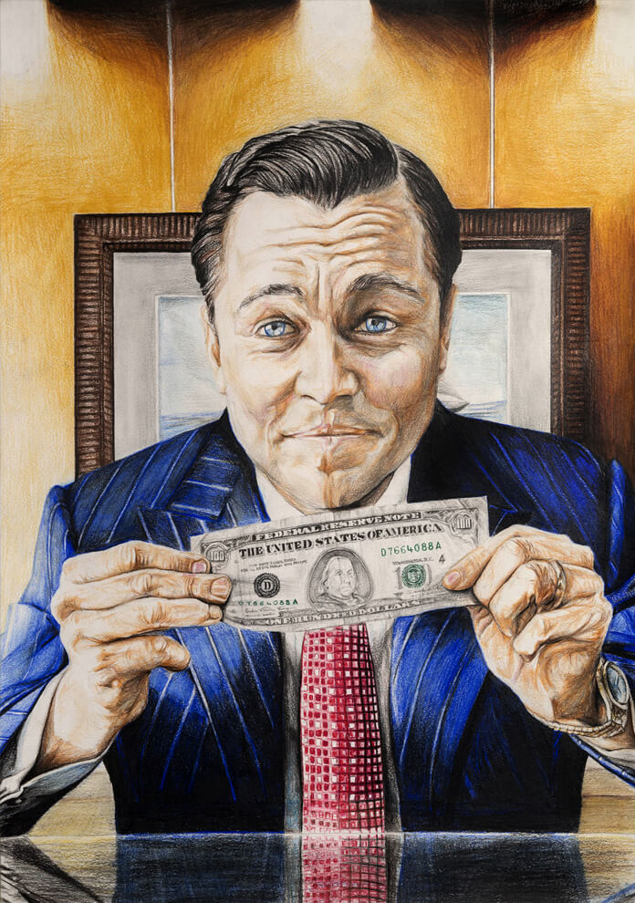 Jordan Belfort (The World OF Wall Street) – Mixed Media on Paper 60 x 42 cm