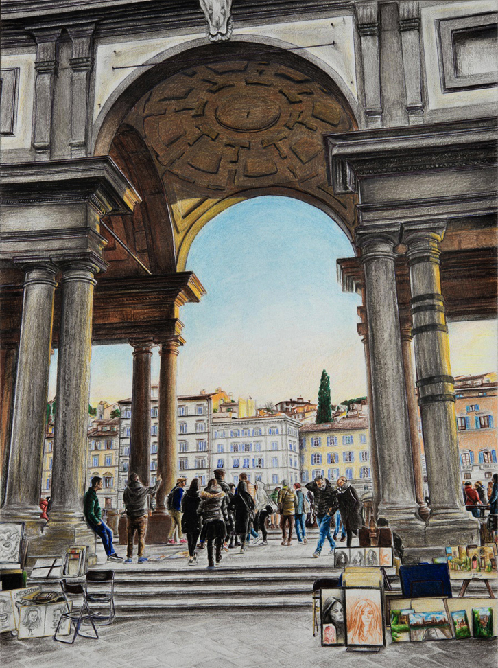Uffizi – Mixed Media on Paper 45×33 cm
