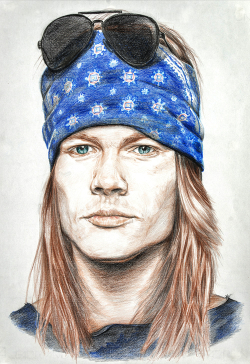 AXL Rose – Mixed Media on Paper 48 x 33 cm