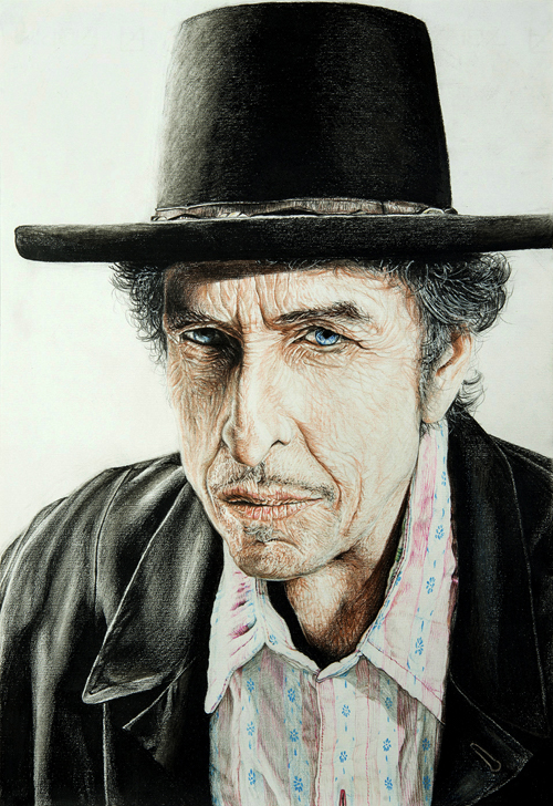 Bob Dylan – Mixed Media on Paper 48 x 33 cm