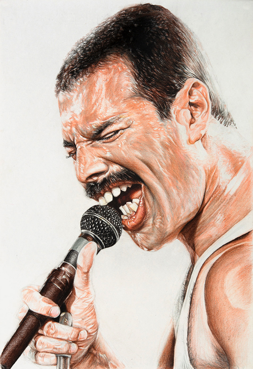 Freddie Mercury – Mixed Media on Paper 48 x 33 cm