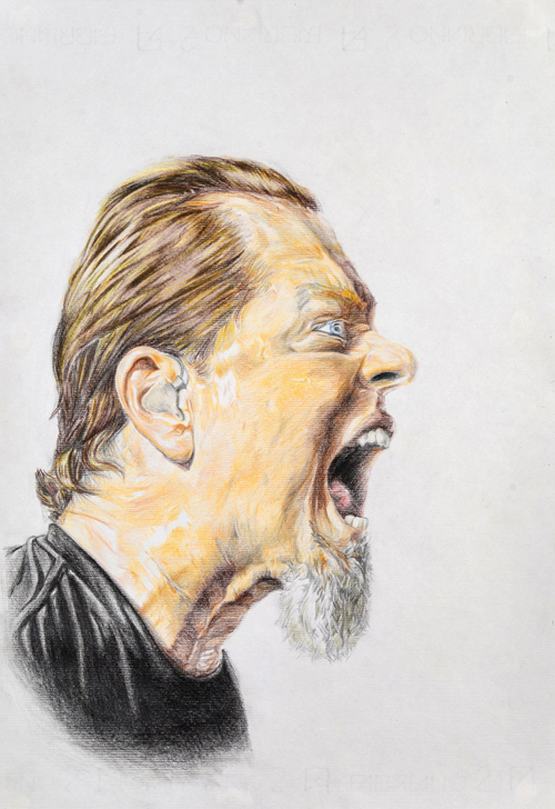 James Hetfield Mixed Media on Paper 48 x 33 cm