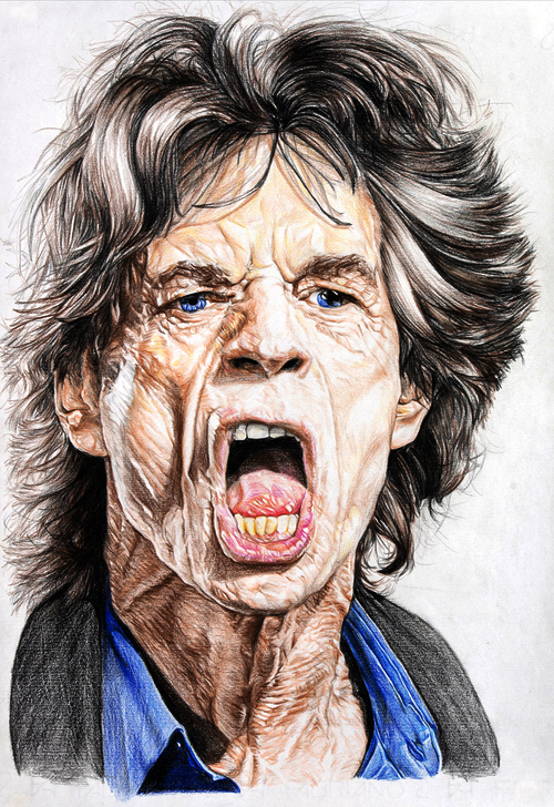 Mick Jagger – Mixed Media on Paper 48 x 33 cm